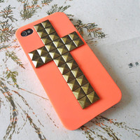 Orange iphone 4,4S Hard Case Cover with cross bronze pyamid stud  For iPhone 4,4S, iPhone 4s Case, iPhone 4 Hard Case,iPhone 4 GS -012