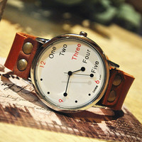 Men's Vintage Leather Wrist Watch  (WAT0022-White)