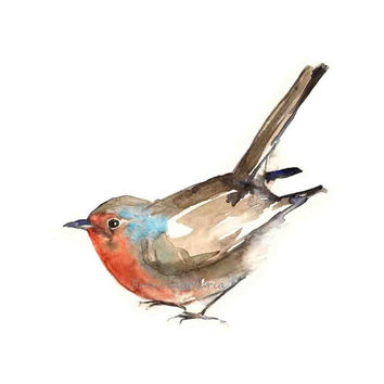 Robin, Watercolor Painting Art, Animal Aquarelle, Birds Watercolour A4 Print Giclee Forest Woodland