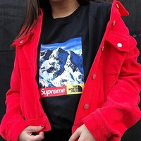 Supreme with the north face snowcapped couple matching sleeved T-shirt