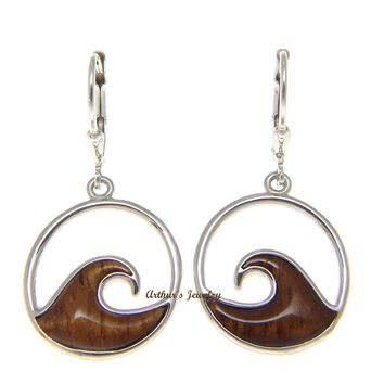 925 Sterling Silver Hawaiian Koa Wood 17.5mm Ocean Lever Back Dangle Earrings