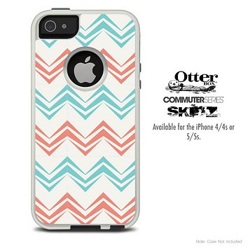 The Abstract Tan Chevron Pattern Skin For The iPhone 4-4s or 5-5s Otterbox Commuter Case