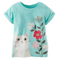 Carter's Cat Flower Graphic Tee - Toddler Girl, Size: