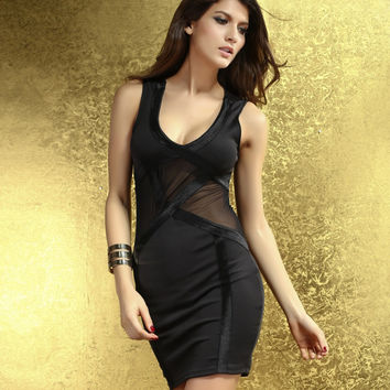 2016 new sexy night club hollow out mesh mini dress fashion party elegant lady V-neck black stripe dress vestidos 2917