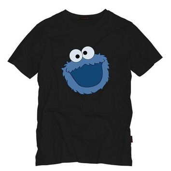 LMFON Sesame Street COOKIE MONSTER Men T Shirt Summer Casual Funny Top Tee Sesame Street Characters Design Printed Cotton T-Shirt