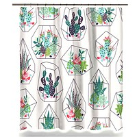 Succulent Terrarium Fabric Shower Curtain