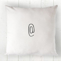 At Symbol Pillow Cover - At Sign Pillow, White Pillow, Farmhouse Pillow, Simple Decor, Minimalist Decor, Trendy, 16 x 16, 18 x 18, 20 x 20