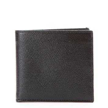 Desanto Men's Saffiano Leather Bifold Wallet - Black