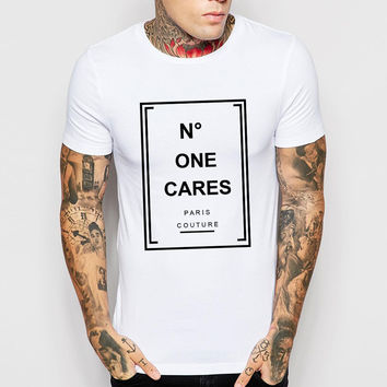 "Men's Design ""No One Cares"" letter print T Shirts Men Cotton Man T-Shirt Short Sleeve O Neck Mens Tees Tops Shirt Drop Ship"