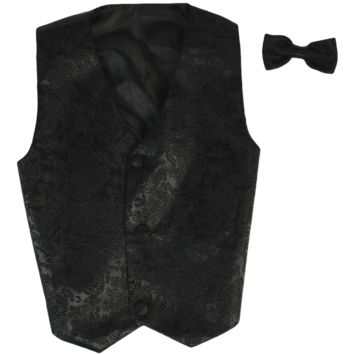Paisley Black Vest & Tie Set Poly Silk 2 Pc with Choice of Necktie or Bow Tie (Boys 3 months - size 14)