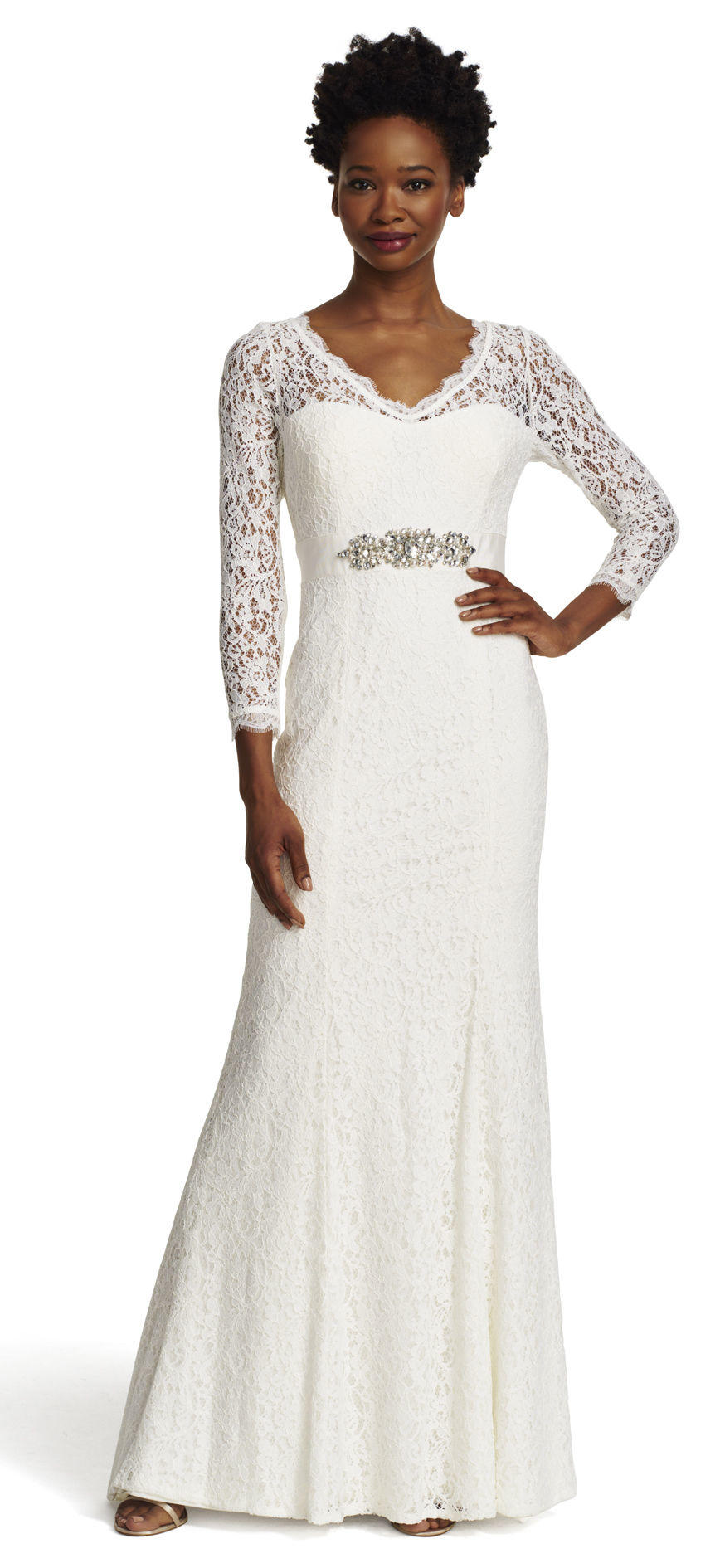 Long Sleeve Lace Mermaid Gown with Train from Adrianna Papell