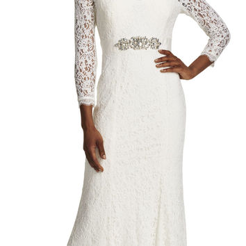 Long Sleeve Lace Mermaid Gown with Train - Adrianna Papell