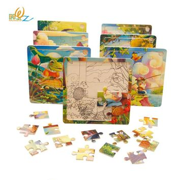 MWZ Baby Wooden Toys for Children 16 Pieces of Cartoon Puzzle 3-4-5-6 Years Old for Kids Montessori  Educational Toy Puzzles
