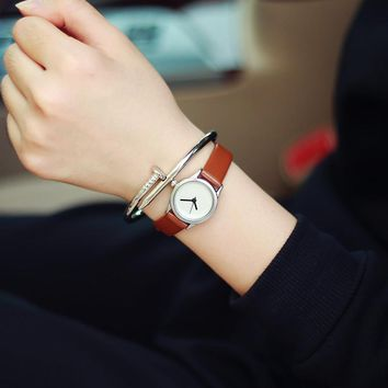 Small dial vintage leather women's watches casual charm ladies wristwatches simple style quartz dress watch women clock brown