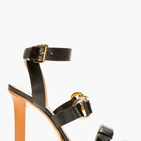 Dsquared2 Black Pebbled Leather Stampatino Heels