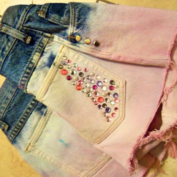 Pink washed high waisted denim shorts by ShortsNBowsNSuch on Etsy