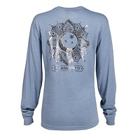 Foil Moon Dial Long Sleeve Tee in Country Blue by The Southern Shirt Co. - FINAL SALE