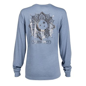 Foil Moon Dial Long Sleeve Tee in Country Blue by The Southern Shirt Co.