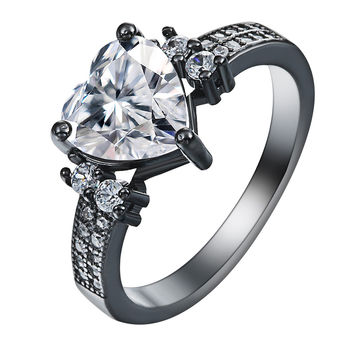 white red green blue Love jewelry vintage black gun promise Rings lover Romantic czech zircon Heart Engagement Ring for women
