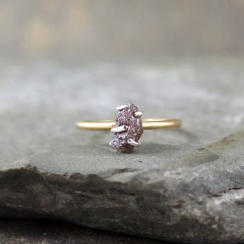 Raw Uncut Rough Diamond Engagement Ring - 14K Yellow Gold Engagement Ring - Rough Diamond Gemstone Ring