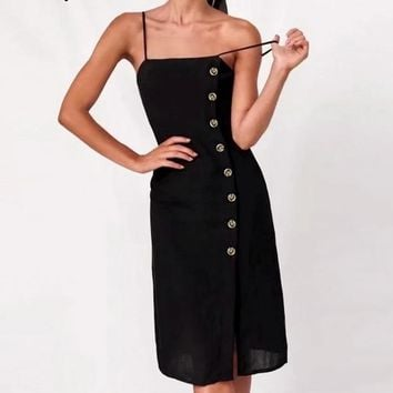 Lucy Button Black Dress