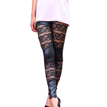 Black Faux Leggings with Lace Accent
