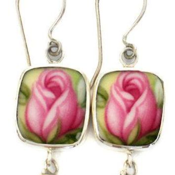 Royal Albert Old Country Roses Sterling Silver Broken China Pearl Jewelry Earrings Pink