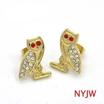 OVOXO OWN DRAKE TAKE CARE OVO OWL LIL WAYNE 14K GOLD PLATED EARRINGS #ER6952G