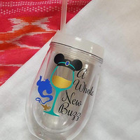 Disney Wine Glass, A Whole New Buzz, Disney Tumbler, Glitter Tumbler, Aladdin , Food And Wine Festival