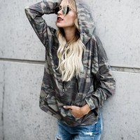 Hats Long Sleeve Camouflage Print Tops Hoodies [110331297817]