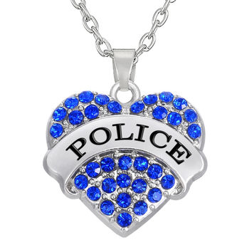 Blue Pink Crystal Paved Heart Police Pendant Necklace for Women Personalized Profession Jewelry