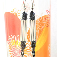 White dangle earings with black - sparkly beaded dangling ear jewelry - handmade beadwork - long seed and bugle bead earings - party jewelry