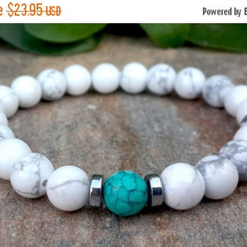 Men's Jewelry, Men's Bracelet, Genuine White Howlite, Turquoise Stretch Yoga Bracelet, Beaded Mens Bracelet, Yoga Jewelry, Man Mala Beads