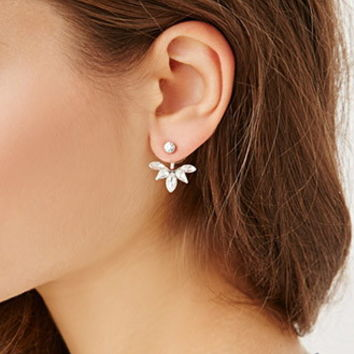 Rhinestoned Leaf Ear Jackets