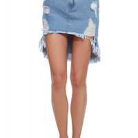 Destroyed Denim High Low Skirt
