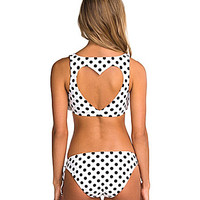 Bikini Lab Dot Stuff Flounce Heart Cutout Bra Top & Tunnel-Tie Hipster Bottom | Dillards.com