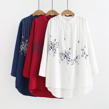 Plus size mandarin collar long sleeve blouses women 2018 Embroidered red & white & dark blue shirt Spring & autumn ladies tops