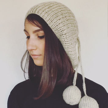 Slouchy Hat Oversized Beanie Baggy Beret For Teen Woman Pom Pom Hats Knitted