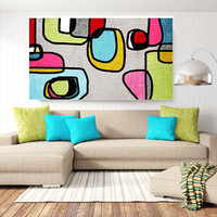 """Vibrant Colorful Abstract-0-37. Mid-Century Modern Blue Green Canvas Art Print, Mid Century Modern Canvas Art Print up to 72"""" by Irena Orlov"""