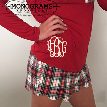 Red Plaid Monogrammed Scalloped Flannel Shorts Pajama PJ's Christmas Lounge  Font shown INTERLOCKING in Ivory
