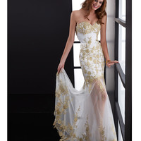 Jasz Couture 2014 Prom Dresses - Gold & White Tulle Floral Lace Motif Mermaid Prom Gown