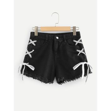 Frayed Hem Lace Up Side Denim Shorts
