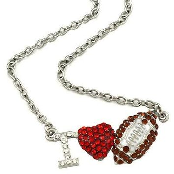 "*[N/L]-Silvertone Bling ""I Heart Football"" Necklace- Brown"