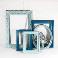 Blue Frame Set Upcycled Frames Painted Frames Wall Grouping Collection Empty Frames