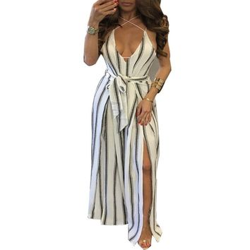 New 2017  womens  Sexy Solid color  Strap Backless  Bell-bottoms High Split One-piece twilled Sandy beach   pants skirt Jumpsuit