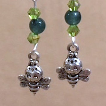 Smiling Bee Charm Earrings, Green Glass Bead & Peridot Crystal Silver Bee Charm Earrings, Charm Earrings, Handmade Beaded Jewelry, Gift Idea