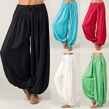 Women Casual Loose Fit Drawstring Harem Pants (5 Colors)