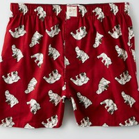 AEO Men's Beer Bear Flannel Boxer (Red)