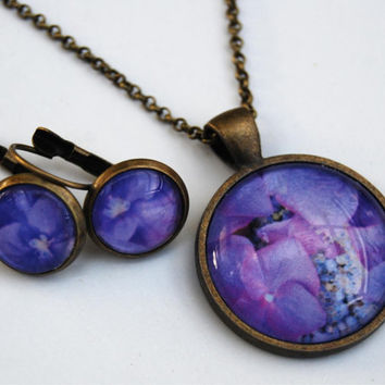 Photo pendant necklace and earring set - hydrangea - antique brass plated and glass purple
