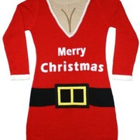 Ugly Christmas Sweater - Santa Suit Naughty Sweater Dress w/Cleavage By Festified
